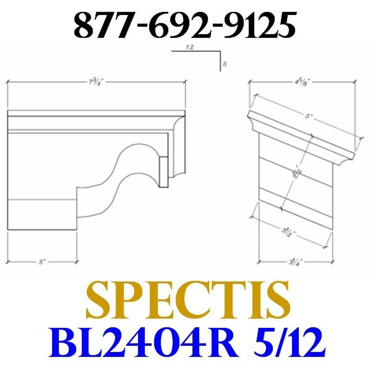 "BL2404R-5/12 Pitch Corbel or Eave Bracket 5""W x 3.5""H x 7.75"" P"