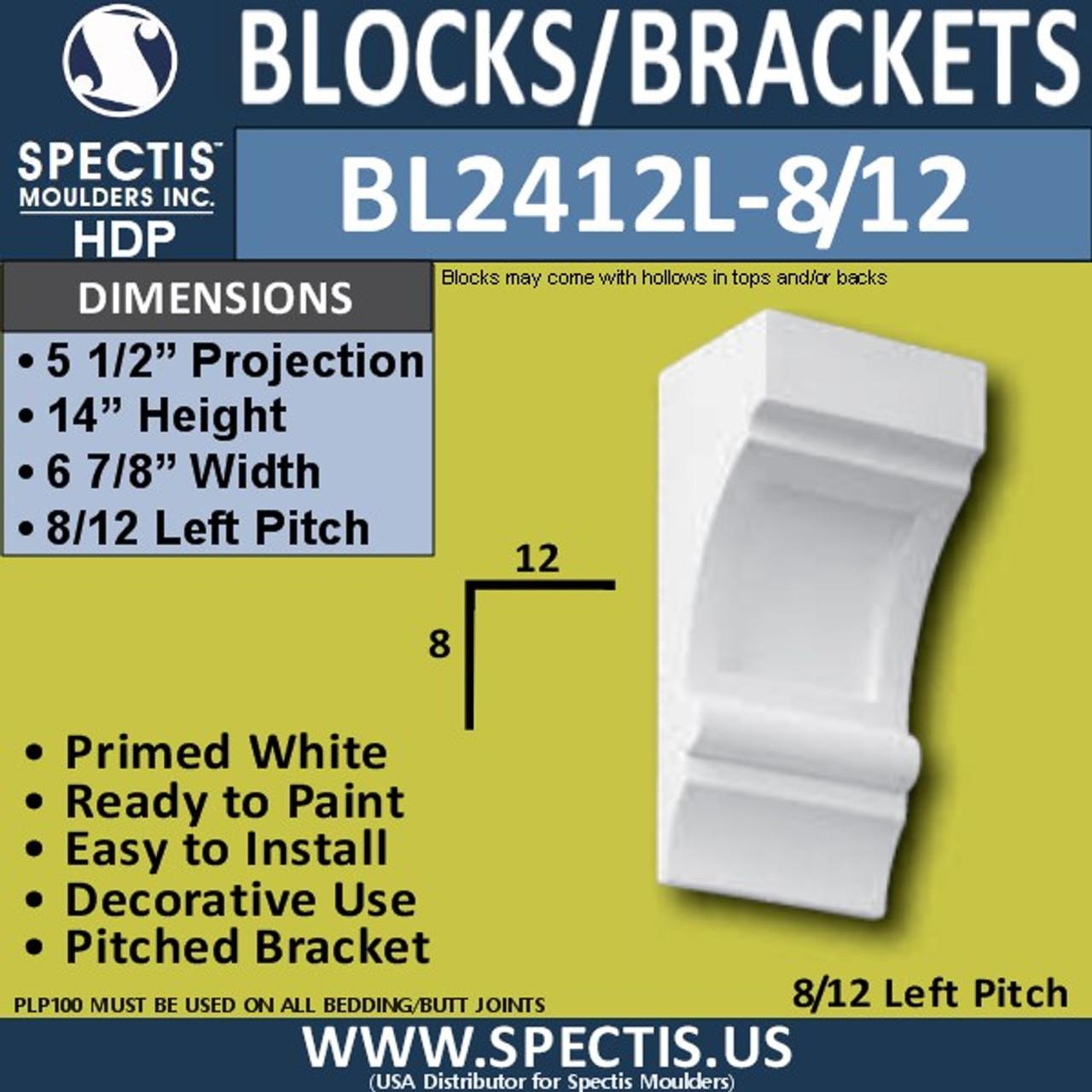 """BL2412L-8/12 Pitch Eave Bracket 7""""W x 14""""H x 5.5"""" P"""