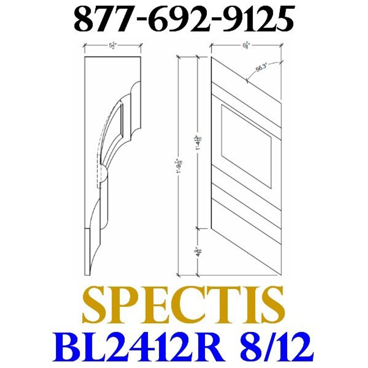 "BL2412R-8/12 Pitch Corbel or Eave Bracket 7""W x 14""H x 5.5"" P"