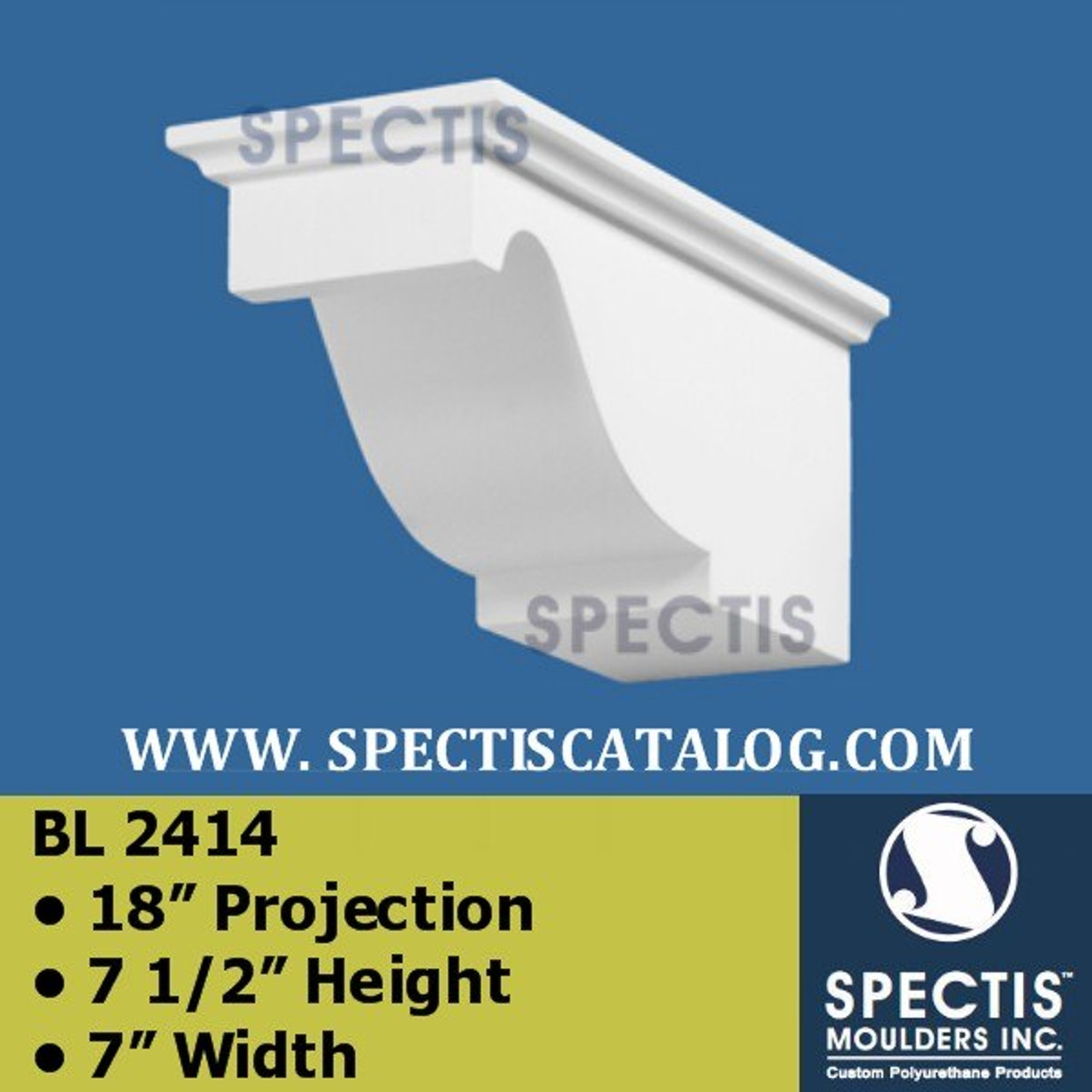 "BL2414 Corbel Block or Eave Bracket 7""W x 7.5""H x 18"" P"