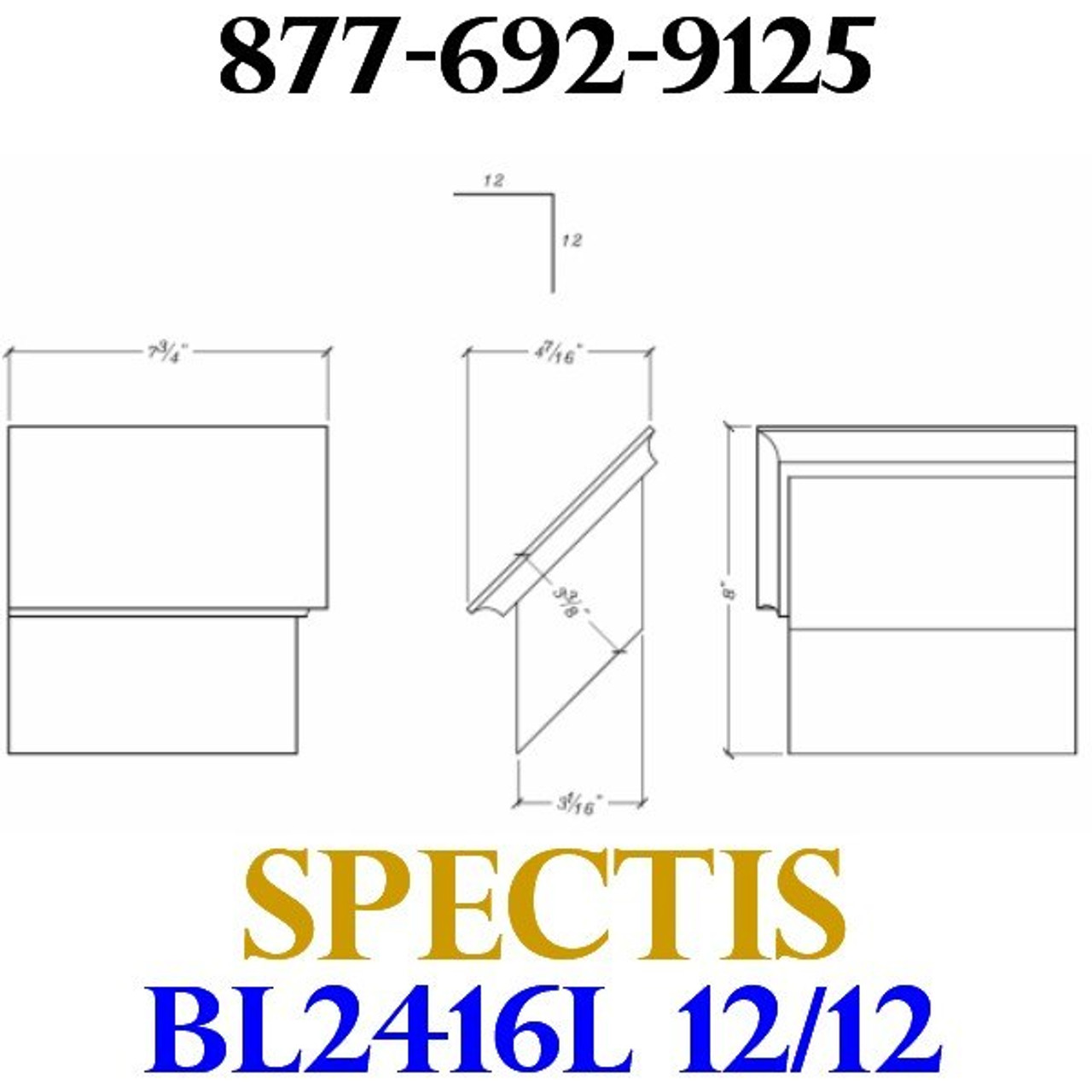 """BL2416L-12/12 Pitch Corbel Block or Bracket 5""""W x 3""""H x 8"""" P"""
