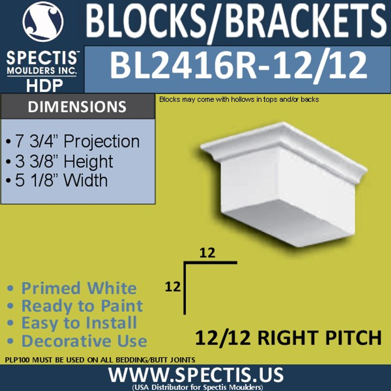 "BL2416R-12/12 Pitch Eave Block 5""W x 4""H x 7"" P"