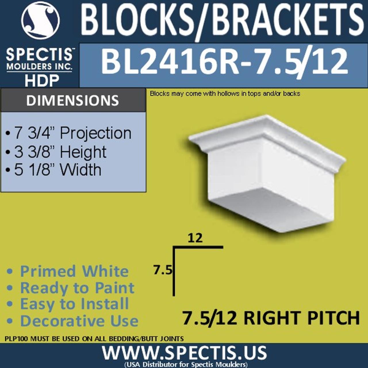 "BL2416R-7.5/12 Pitch Eave Block 5""W x 4""H x 7"" P"