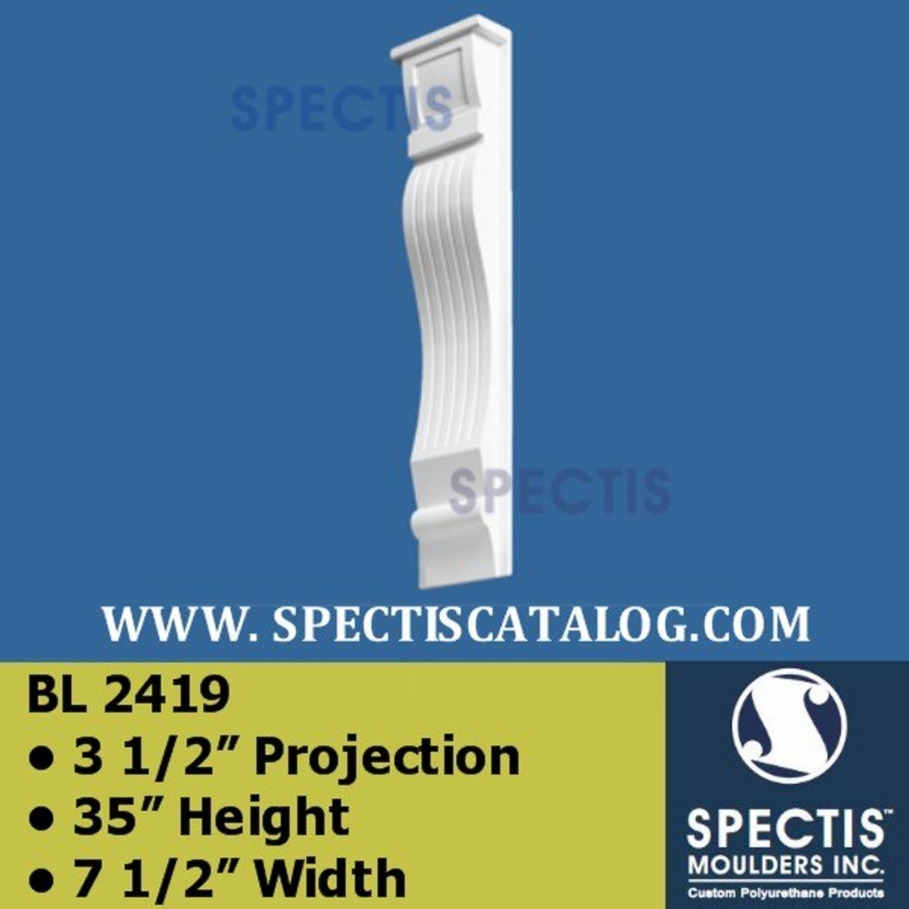 "BL2419 Corbel Block or Eave Bracket 7.5""W x 35""H x 3.5"" P"