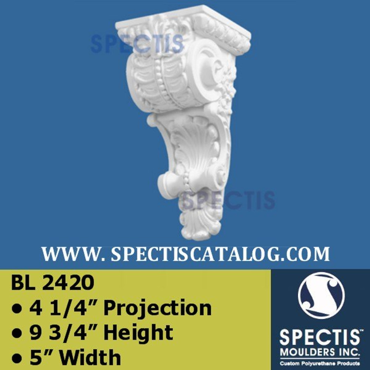 "BL2420 Corbel Block or Eave Bracket 5""W x 9.75""H x 4.25"" P"