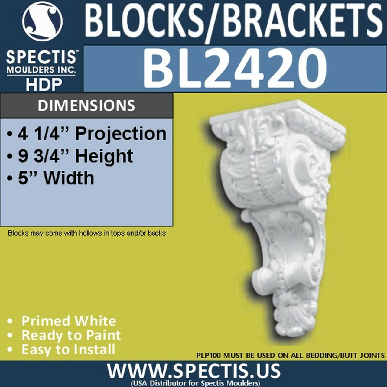 "BL2420 Eave Block or Bracket 5""W x 9.75""H x 4.25"" P"