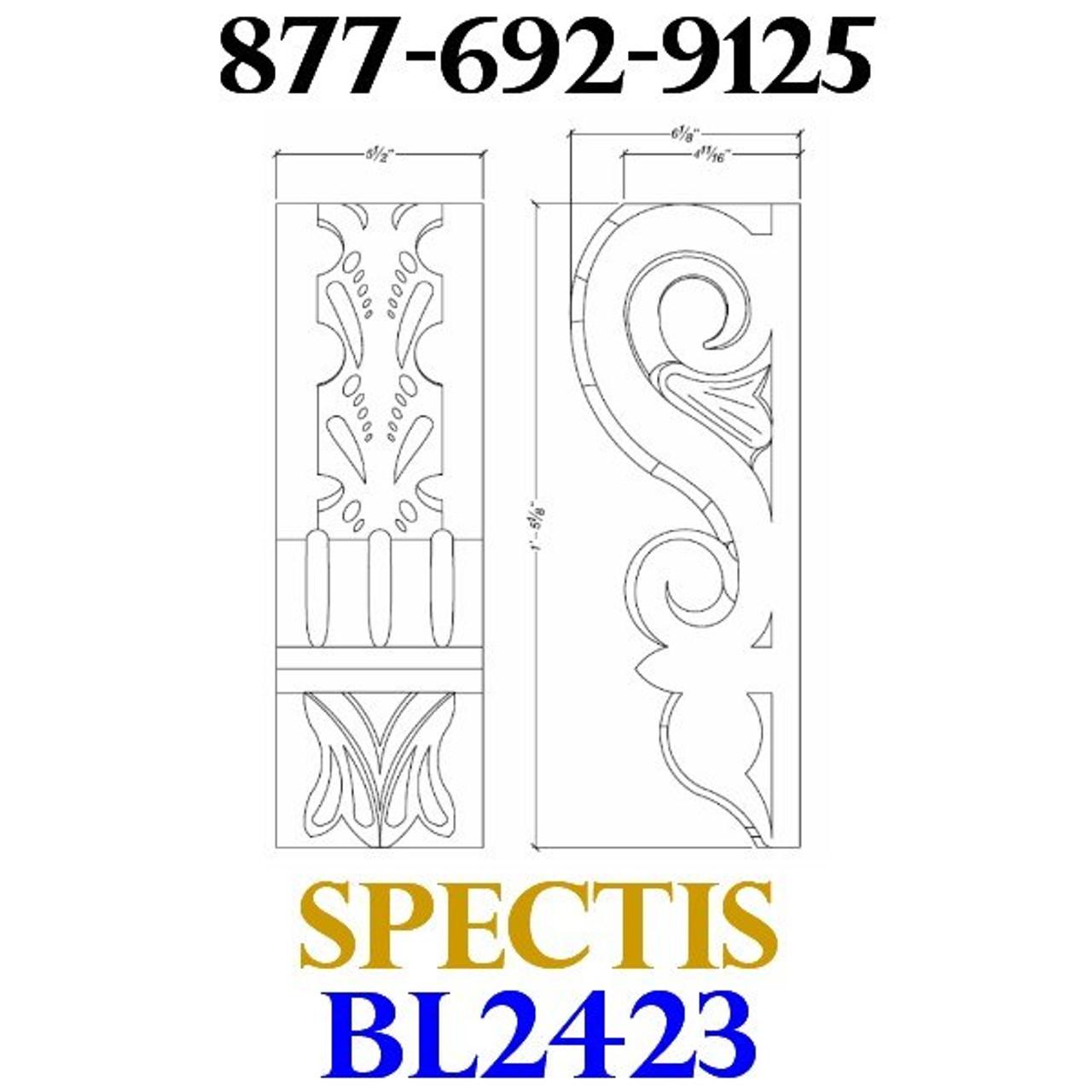 "BL2423 Corbel Block or Eave Bracket 5.5""W x 17""H x 6.25"" P"