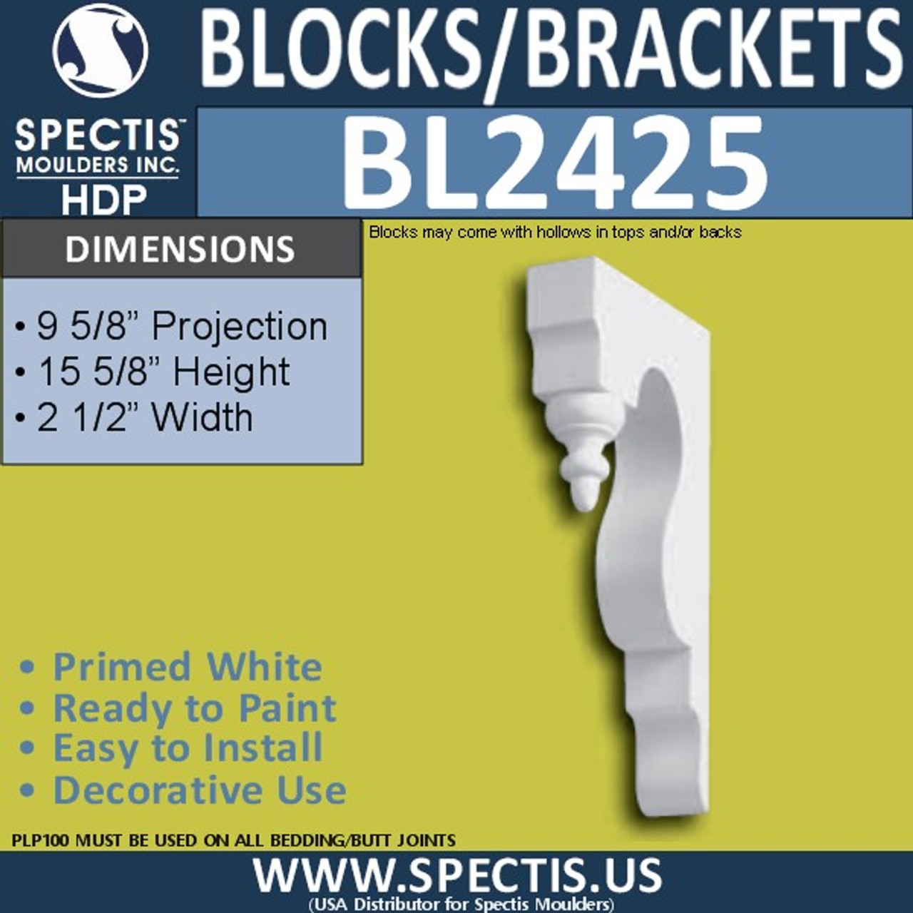 "BL2425 Eave Block or Bracket 2.5""W x 15.5""H x 9.5"" P"