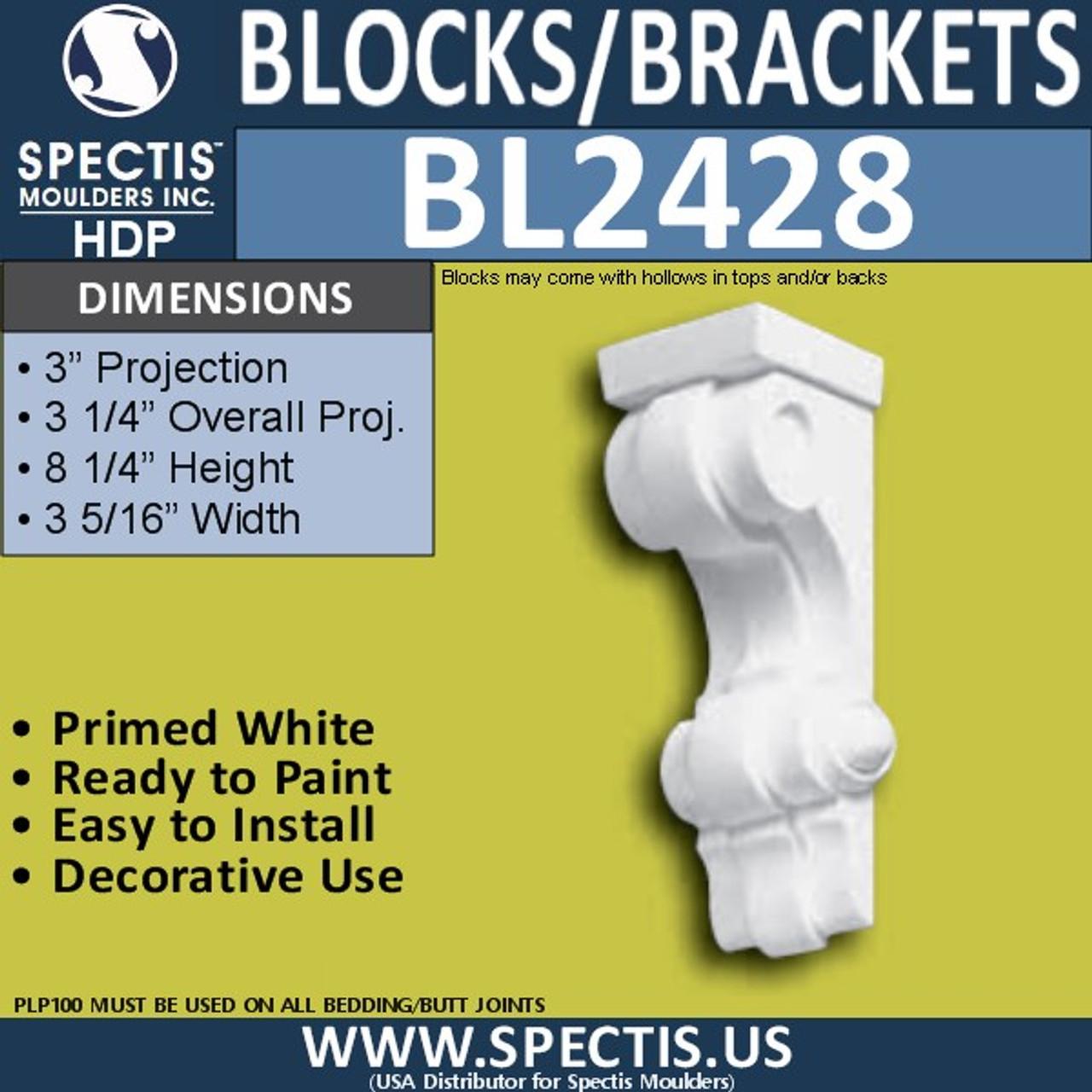 "BL2428 Eave Block or Bracket 3.5""W x 8.75""H x 3.5"" P"