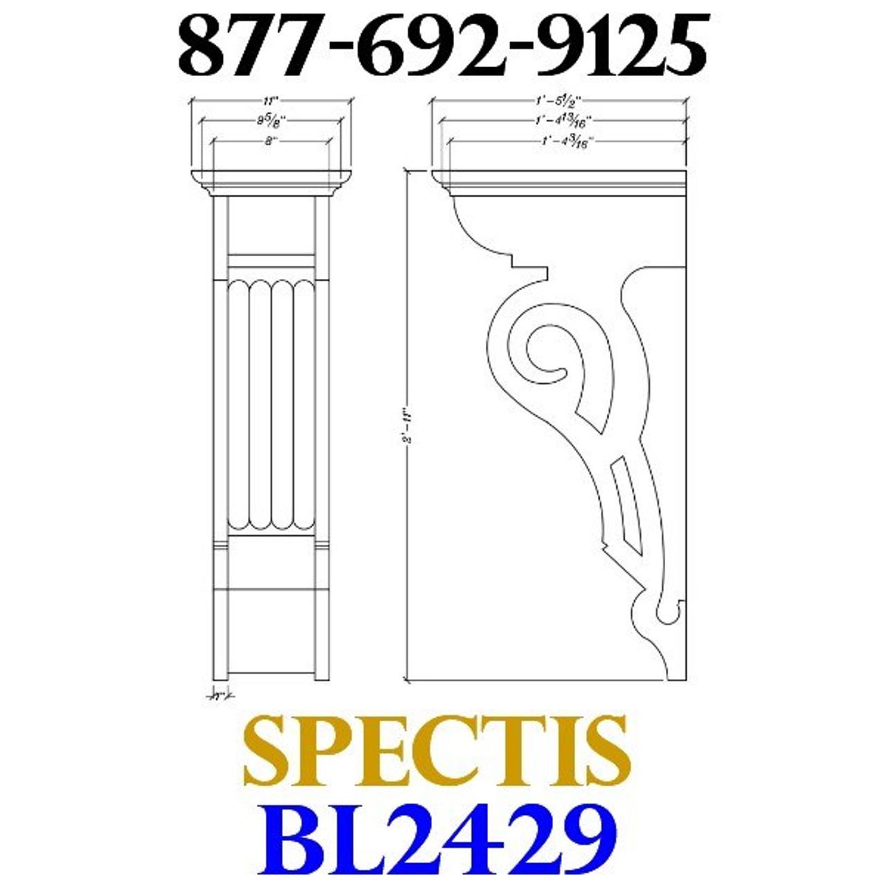 "BL2429 Corbel Block or Eave Bracket 11""W x 35""H x 17.5"" P"