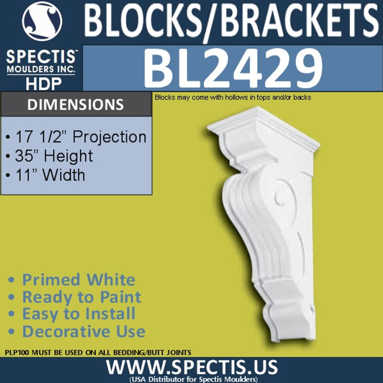 "BL2429 Eave Block or Bracket 11""W x 35""H x 17.5"" P"