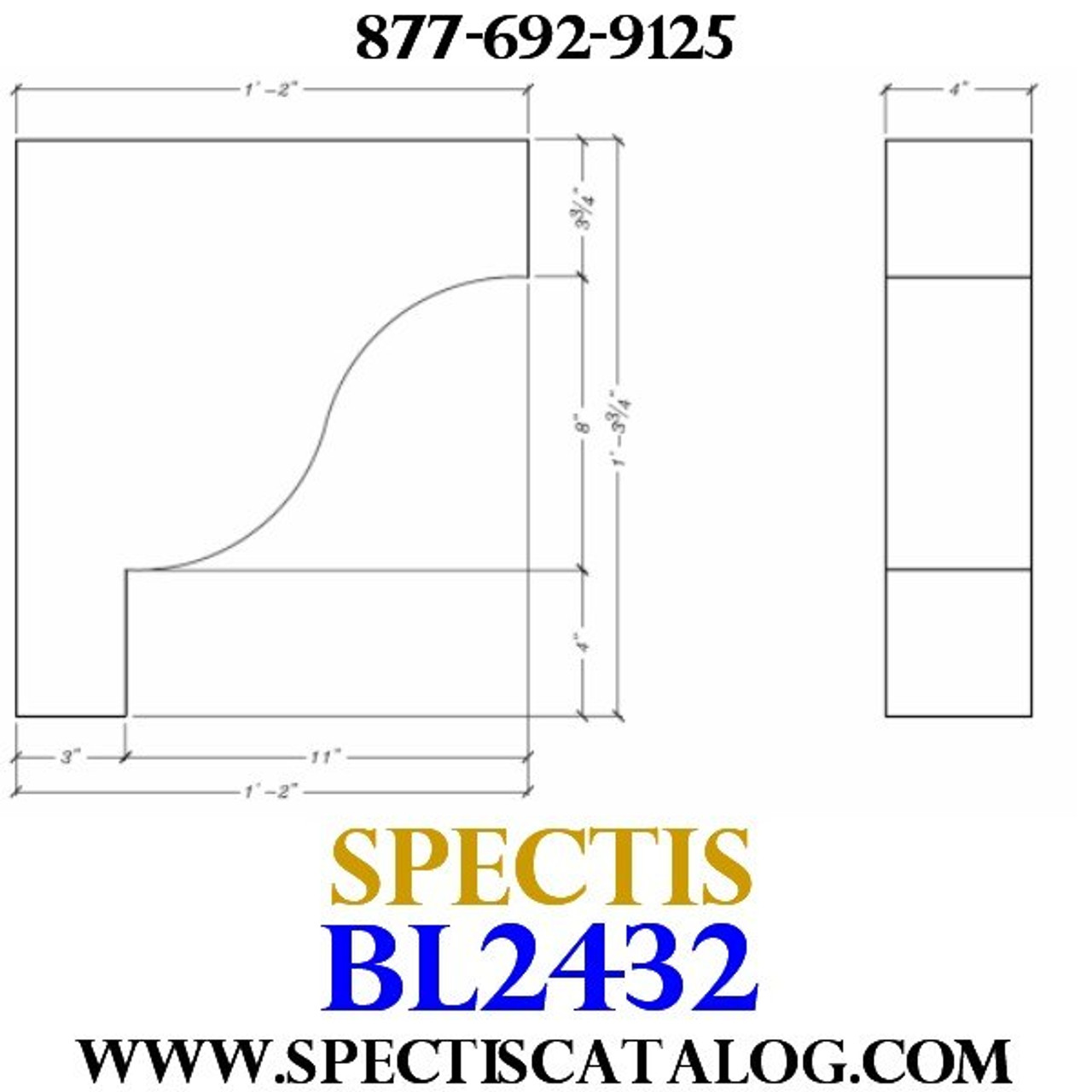"BL2432 Corbel Block or Eave Bracket 4""W x 15.75""H x 14"" P"