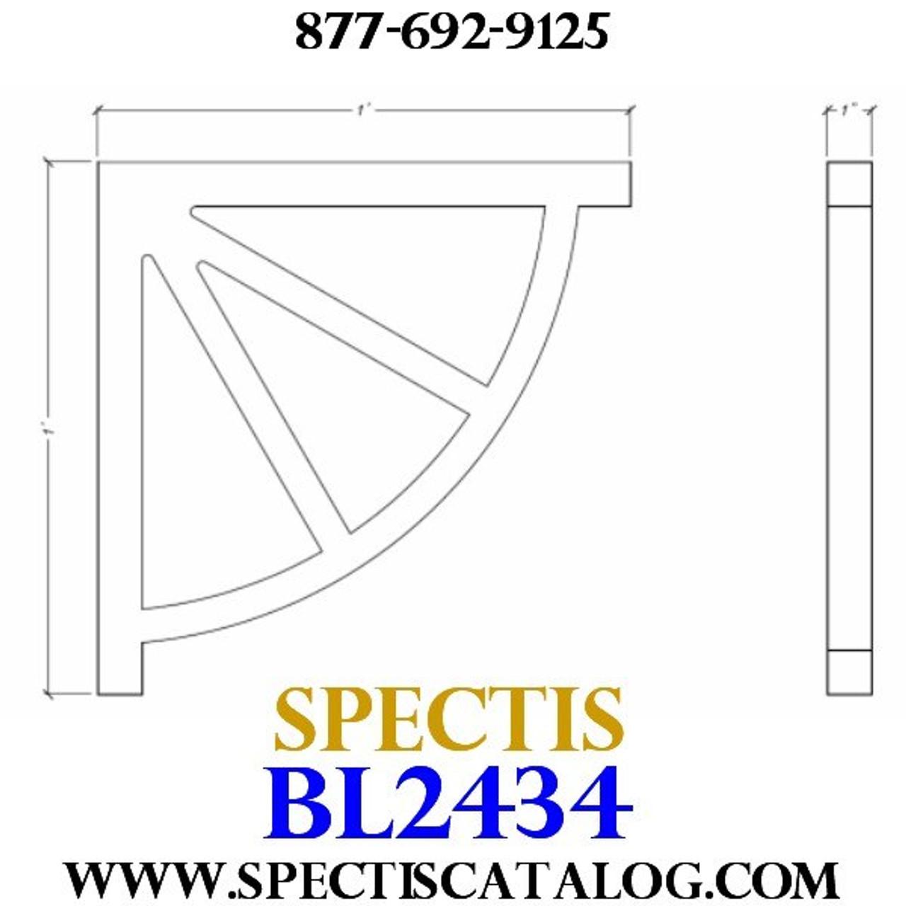 "BL2434 Corbel Block or Eave Bracket 1""W x 12""H x 12"" P"