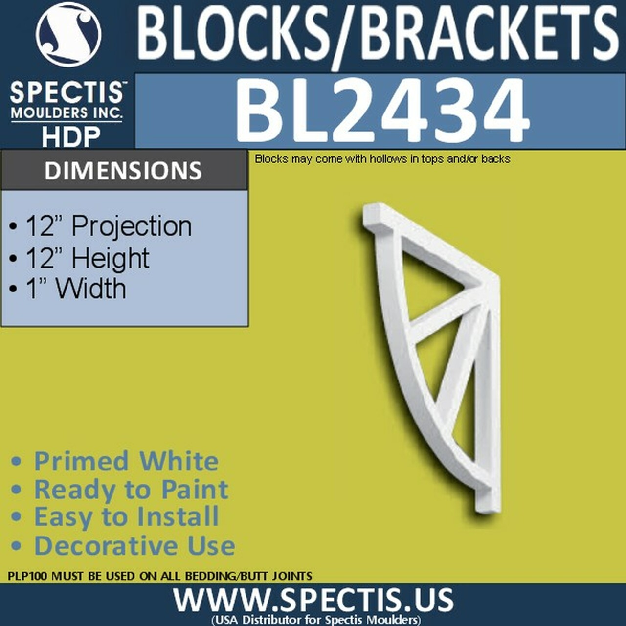 "BL2434 Eave Block or Bracket 1""W x 12""H x 12"" P"