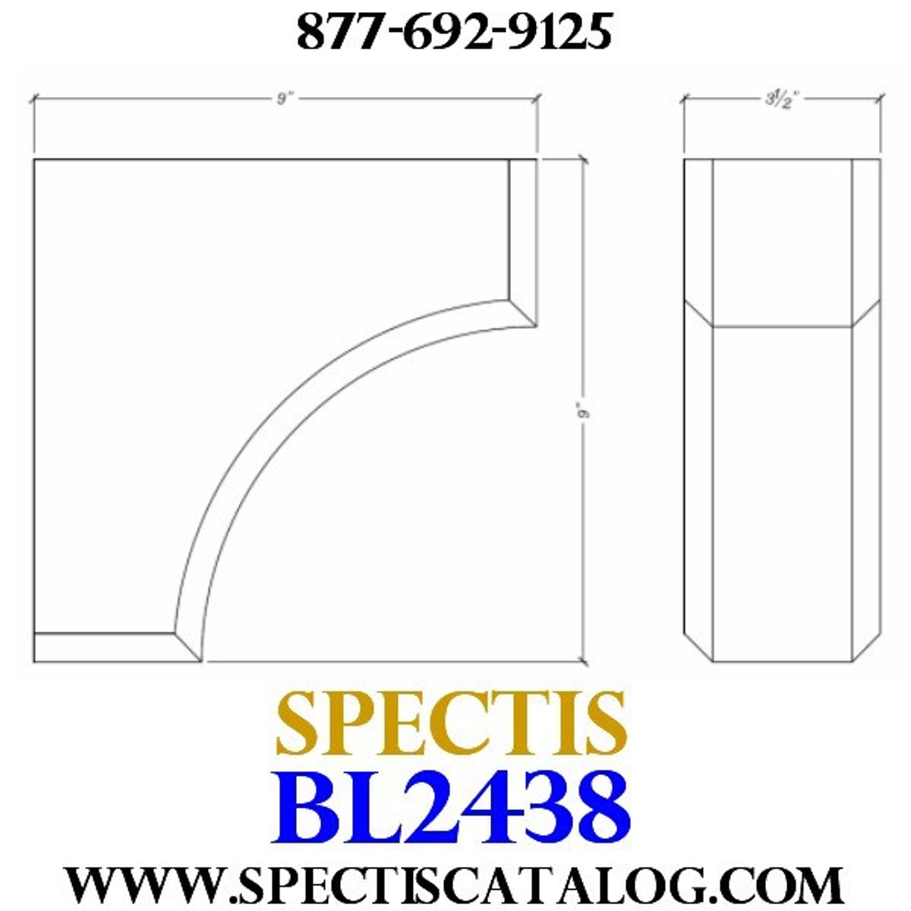 "BL2438 Corbel Block or Eave Bracket 3.5""W x 9""H x 9"" P"