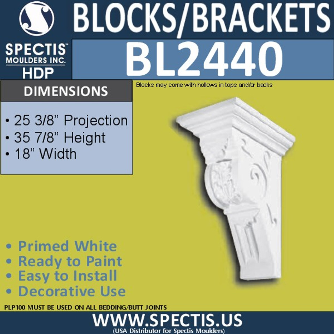"BL2440 Eave Block or Bracket 17.75""W x 35.5""H x 25"" P"