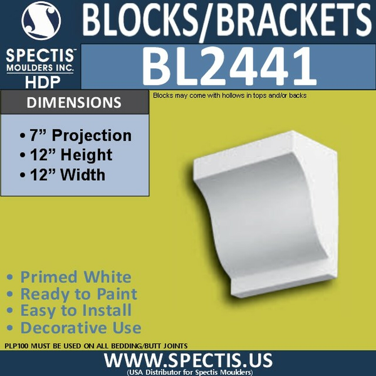 "BL2441 Eave Block or Bracket 12""W x 12""H x 7"" P"