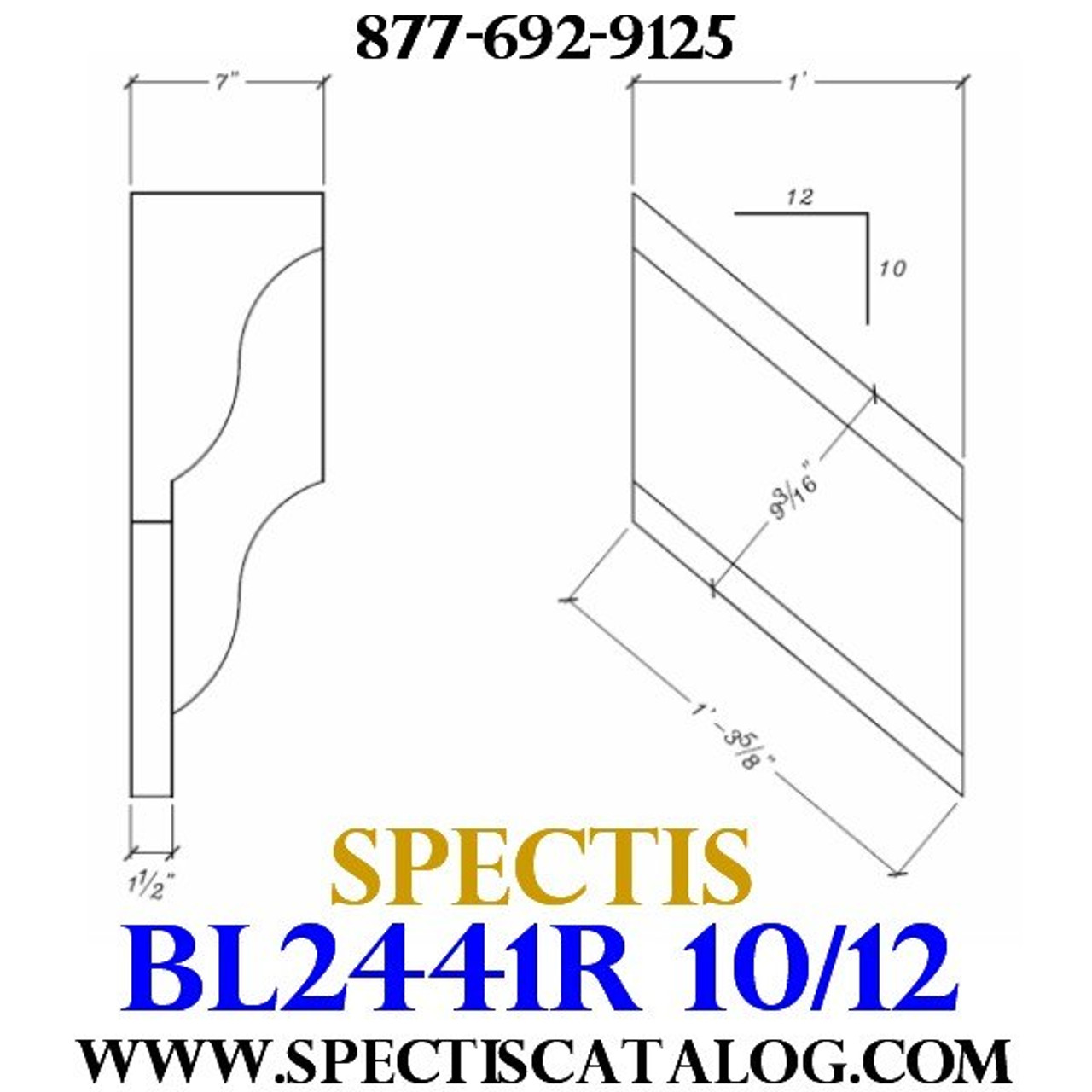 "BL2441R-10/12 Pitch Corbel or Bracket 12""W x 12""H x 7"" P"