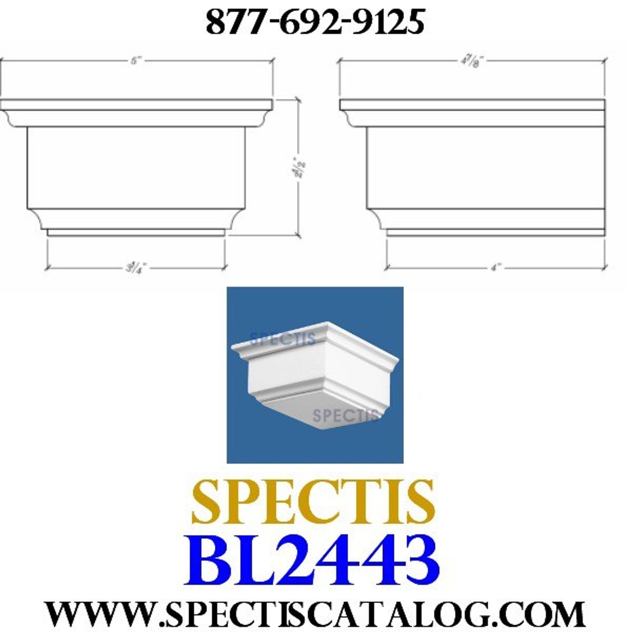 "BL2443 Corbel Block or Eave Bracket 5""W x 2.5""H x 4.75"" P"