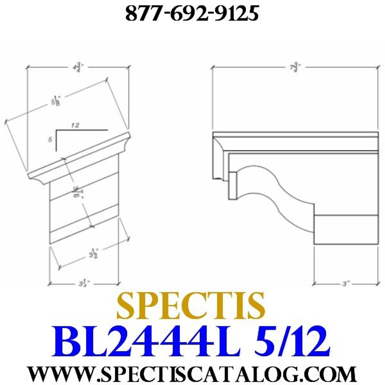 """BL2444L-5/12 Pitch Corbel Block or Bracket 5""""W x 4""""H x 8"""" P"""