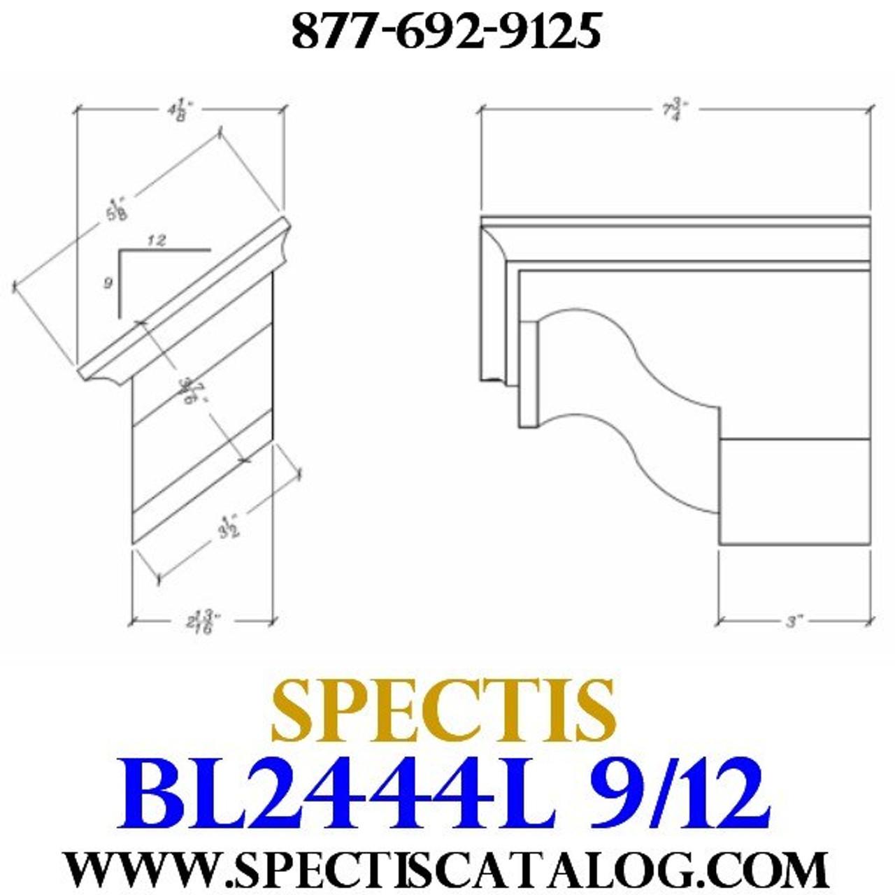 """BL2444L-9/12 Pitch Corbel Block or Bracket 5""""W x 4""""H x 8"""" P"""