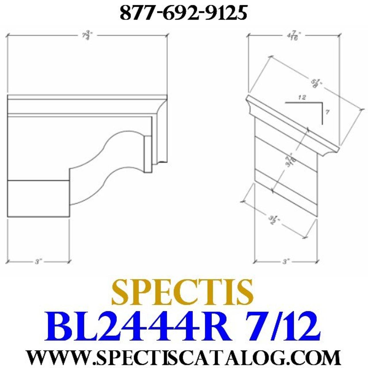 "BL2444R-7/12 Pitch Corbel Block or Bracket 5""W x 4""H x 8"" P"