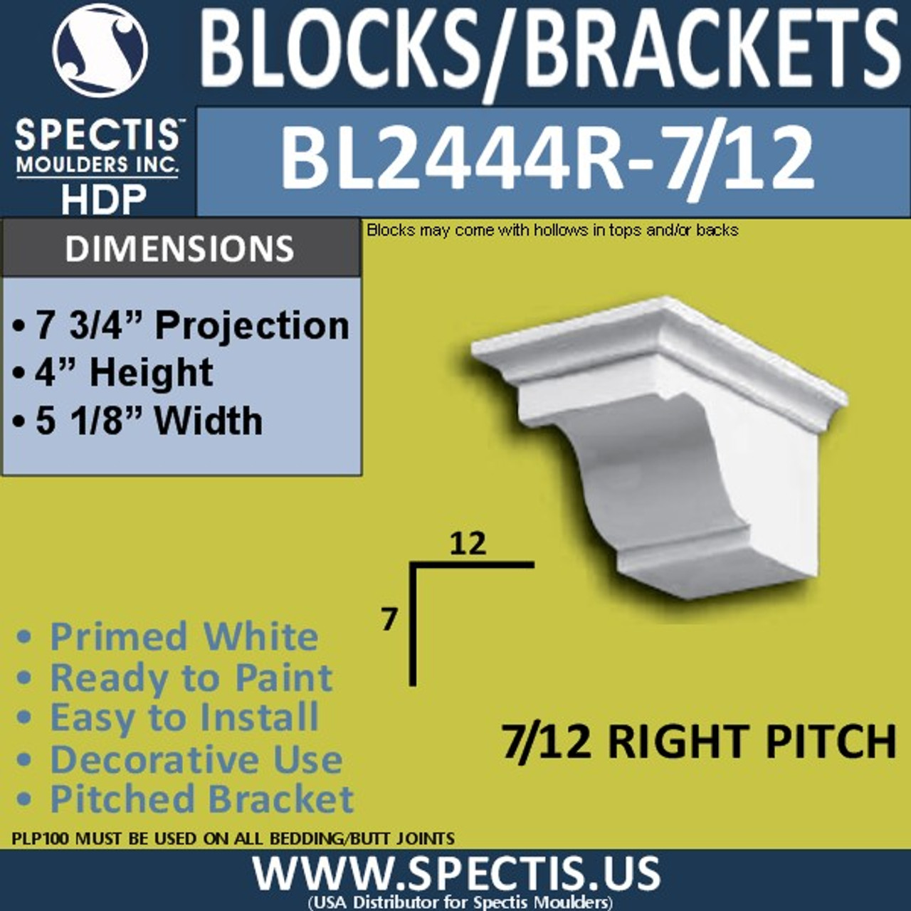 "BL2444R-7/12 Pitch Eave Block 5""W x 4""H x 8"" P"