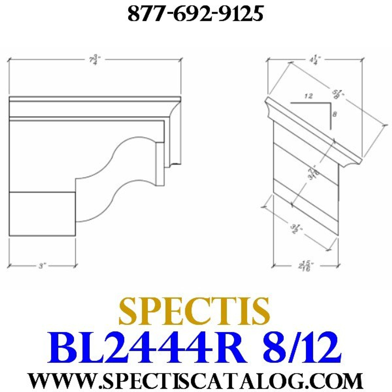 "BL2444R-8/12 Pitch Corbel Block or Bracket 5""W x 4""H x 8"" P"