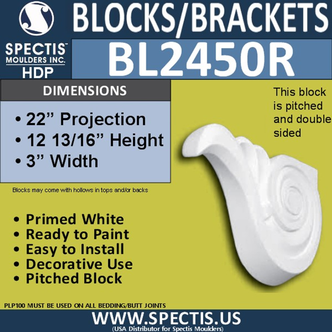 "BL2450R Right Eave Block or Bracket 3""W x 12.75""H x 22"" P"