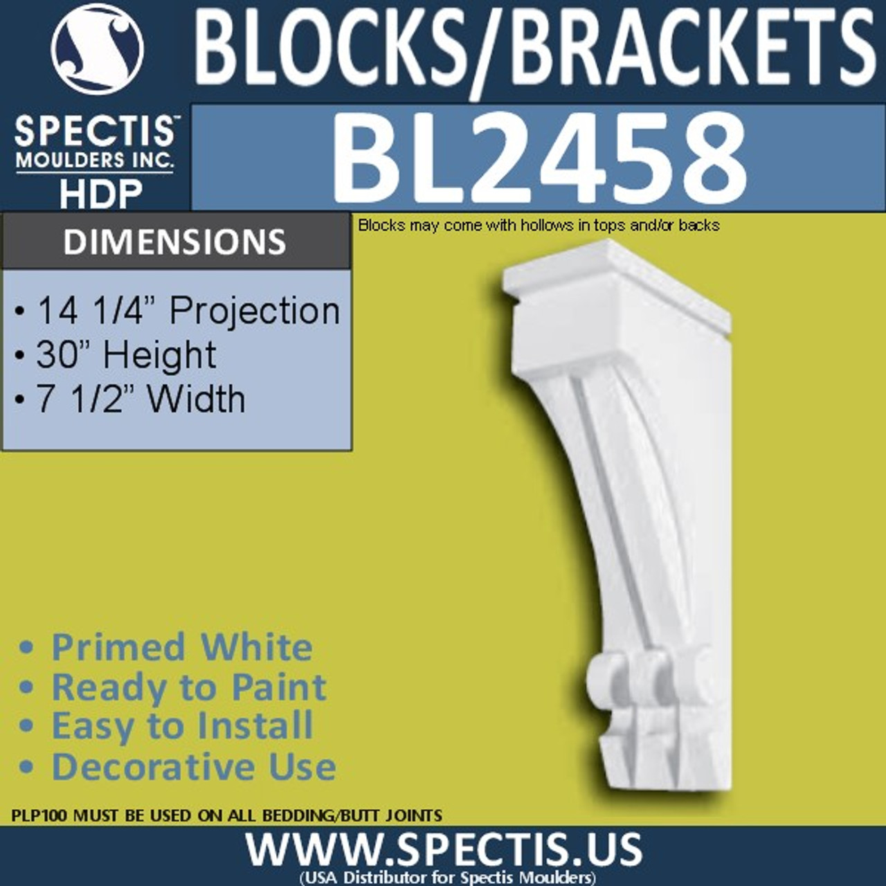 "BL2458 Eave Block or Bracket 7.5""W x 30""H x 14.5"" P"