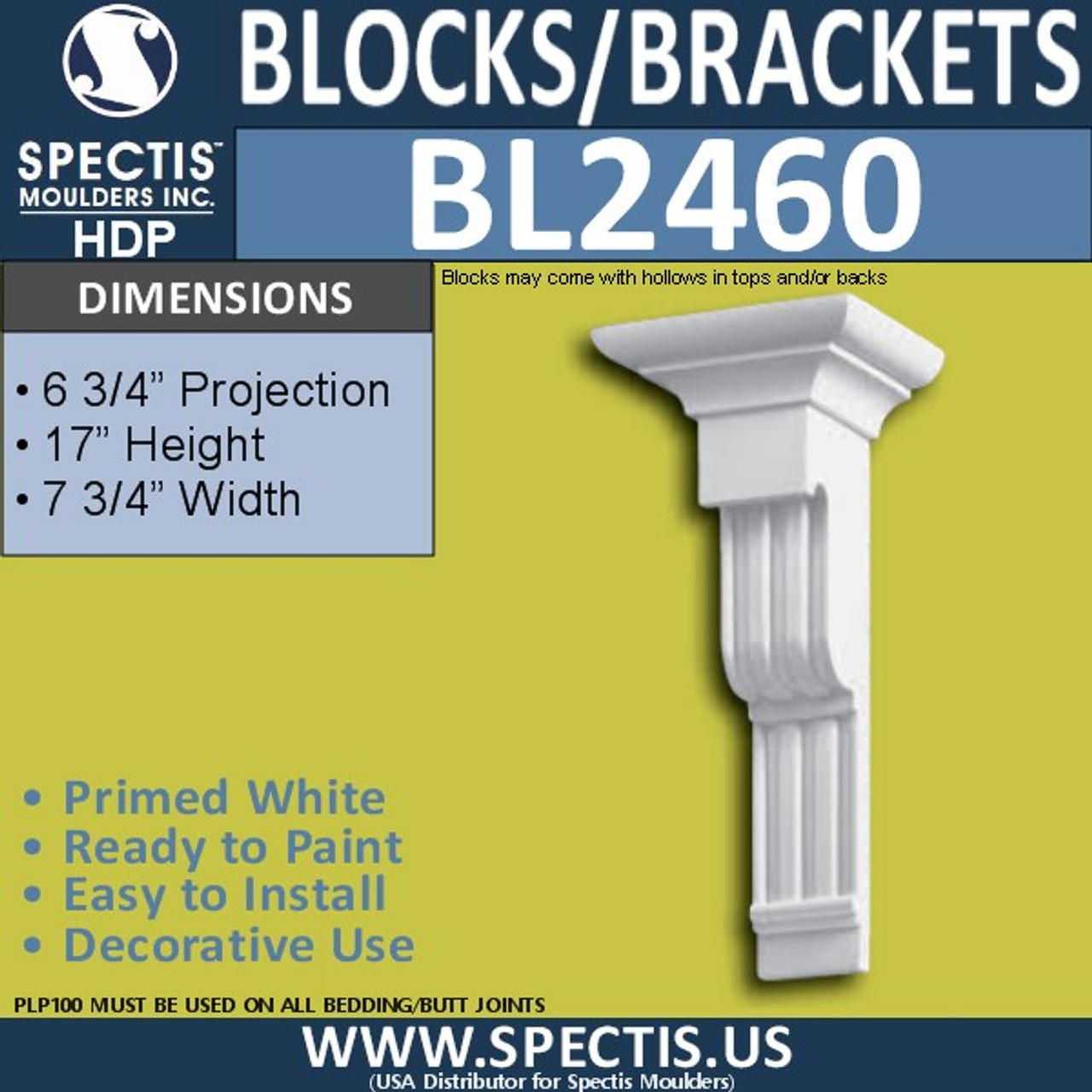 "BL2460 Eave Block or Bracket 7.75""W x 17""H x 6.75"" P"