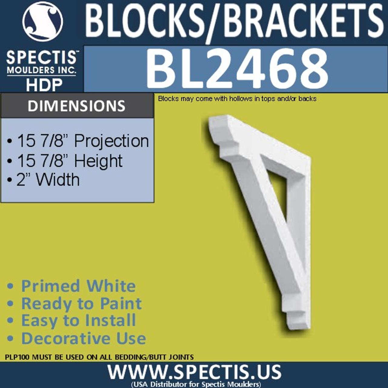 "BL2468 Eave Block or Bracket 2""W x 16""H x 16"" P"