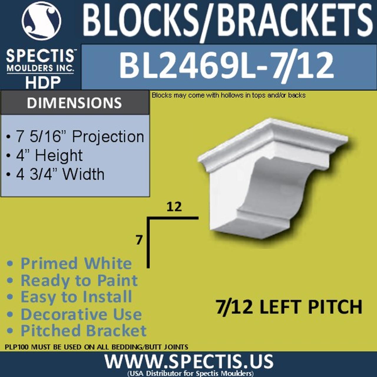 """BL2469L-7/12 Pitch Corbel Eave Bracket 4.75""""W x 4""""H x 7"""" P"""