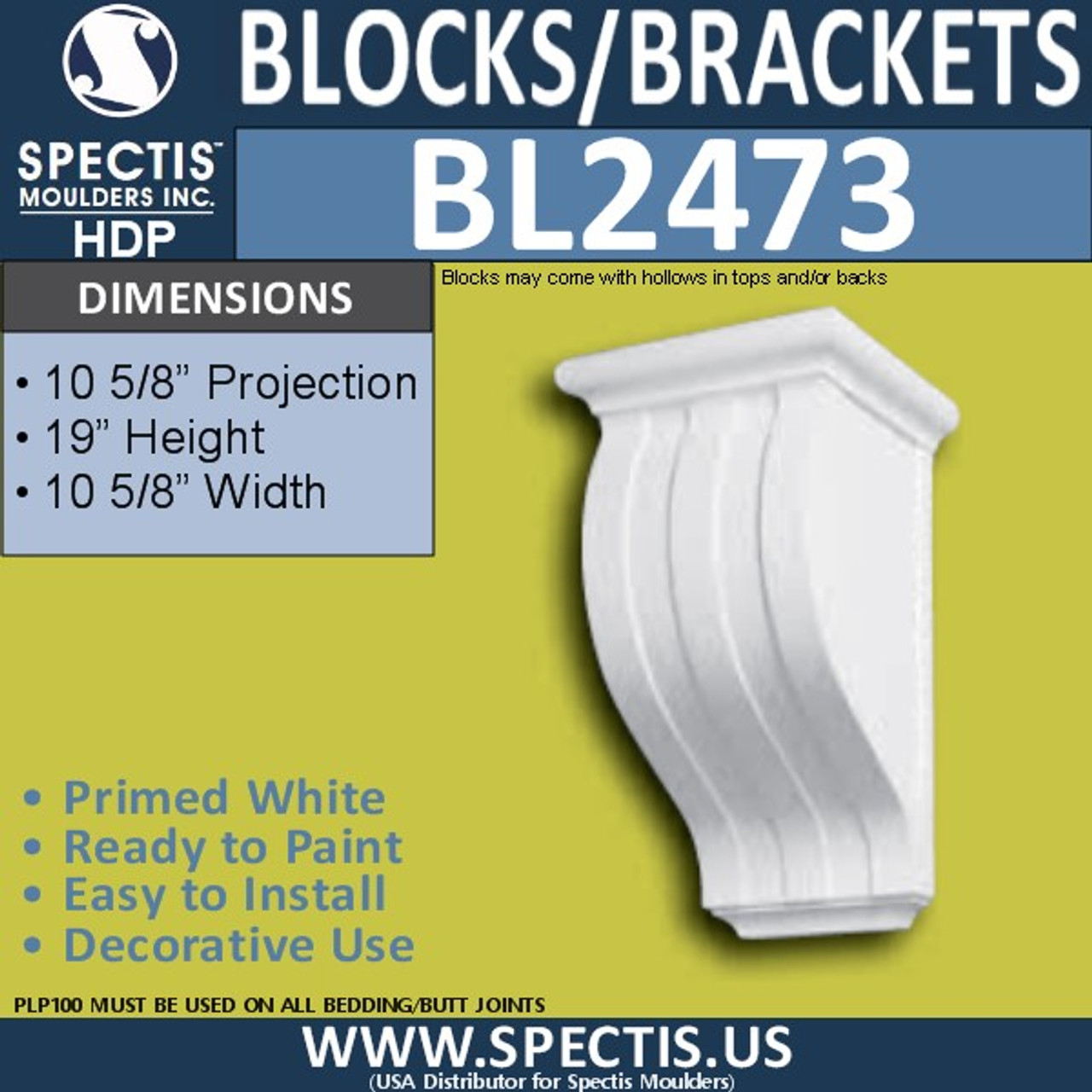 "BL2473 Eave Block or Bracket 10.5""W x 19""H x 11"" P"
