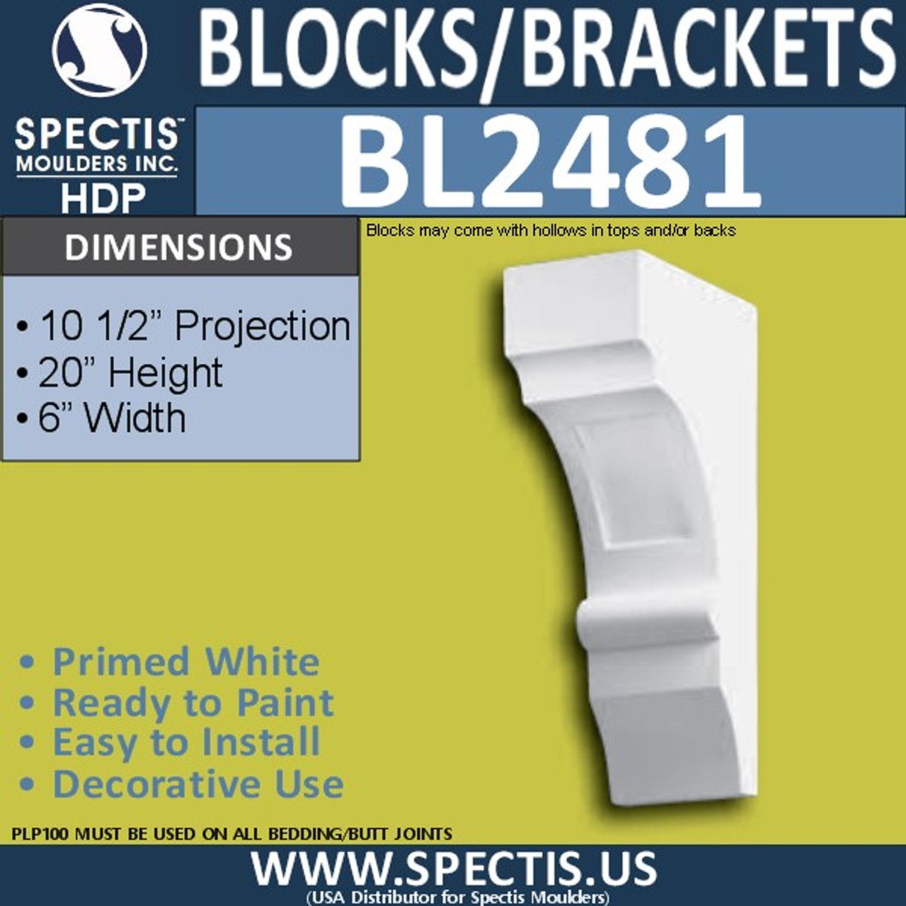 "BL2481 Eave Block or Bracket 6""W x 20""H x 10.5"" P"