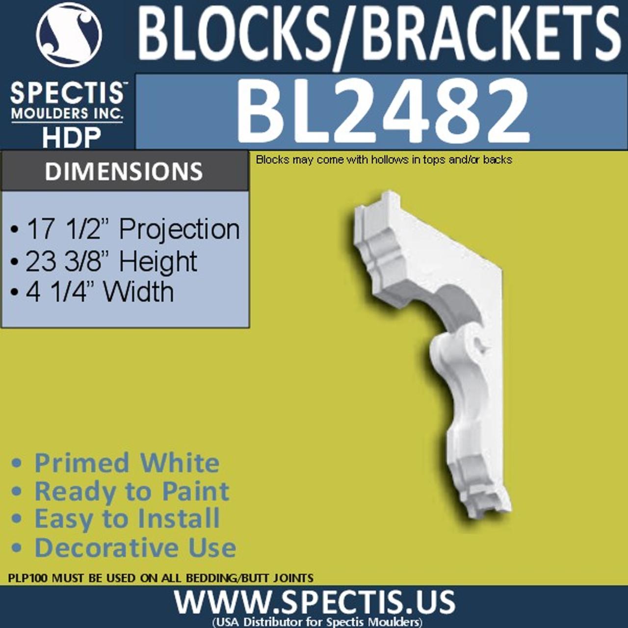 "BL2482 Eave Block or Bracket 4.5""W x 24""H x 17.5"" P"