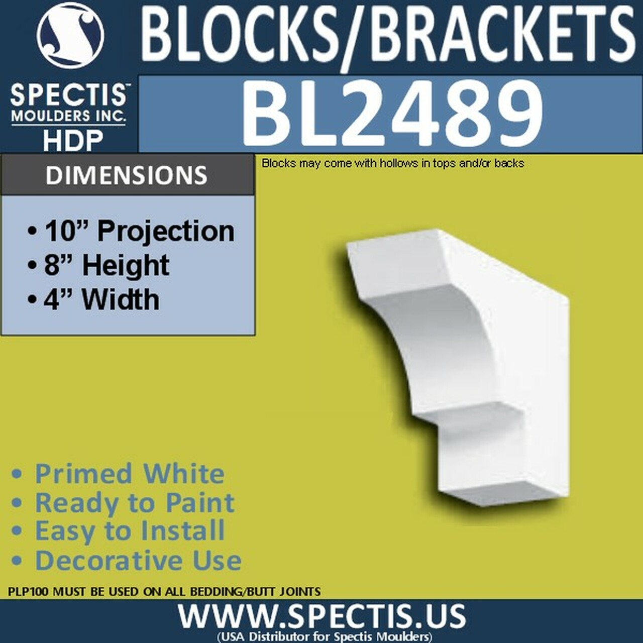 "BL2489 Eave Block or Bracket 4""W x 8""H x 10"" P"