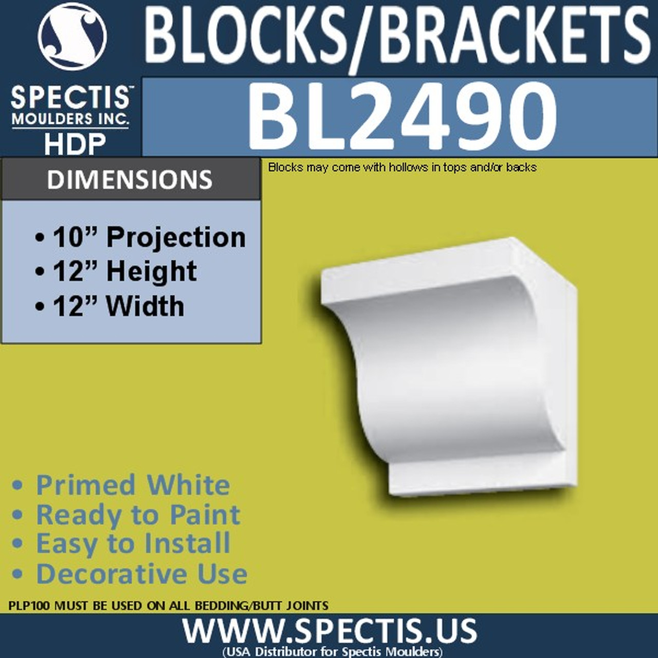 "BL2490 Eave Block or Bracket 12""W x 12""H x 10"" P"