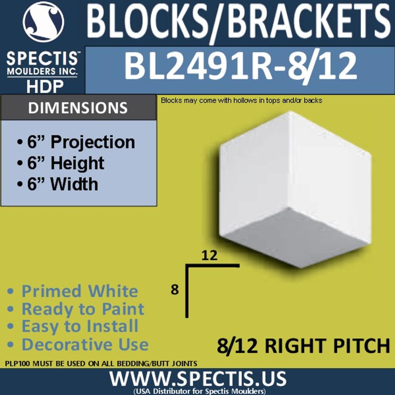 "BL2491R-8/12 Pitch Eave Block or Bracket 6""W x 6""H x 6"" P"