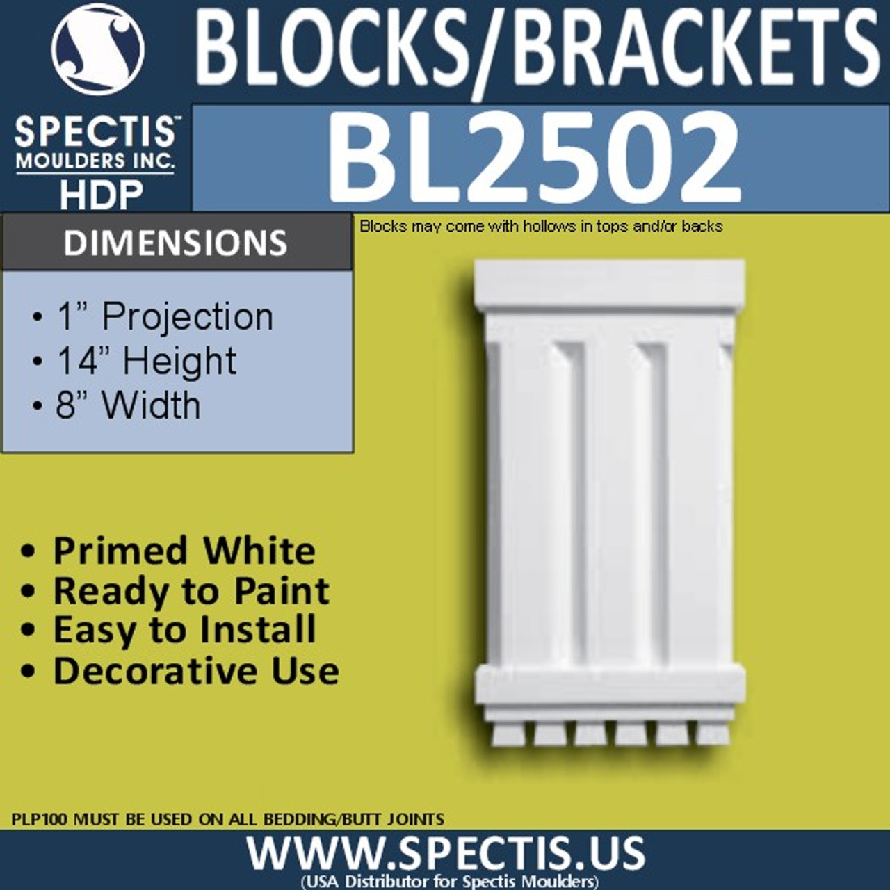 "BL2502 Eave Block or Bracket 7.75""W x 14""H x 1"" P"