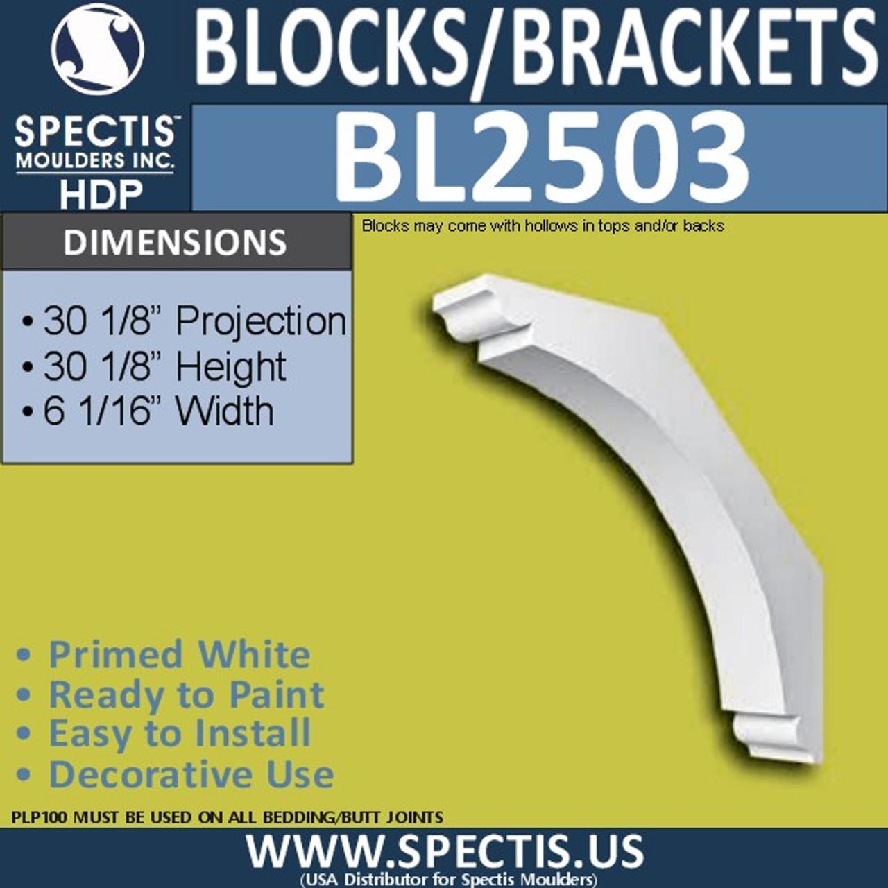 "BL2503 Eave Block or Bracket 6.1""W x 30.2""H x 30.2"" P"