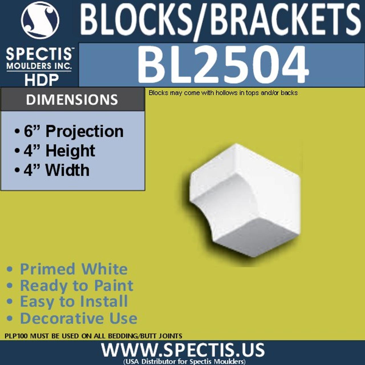 "BL2504 Eave Block or Bracket 4""W x 4""H x 6"" P"