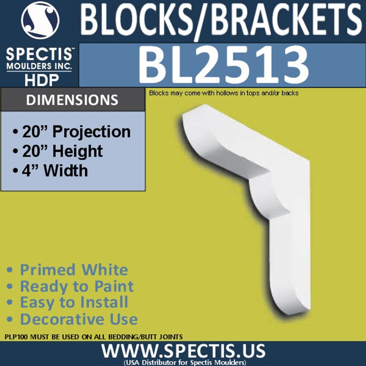 "BL2513 Eave Block or Bracket 4""W x 20""H x 20"" P"