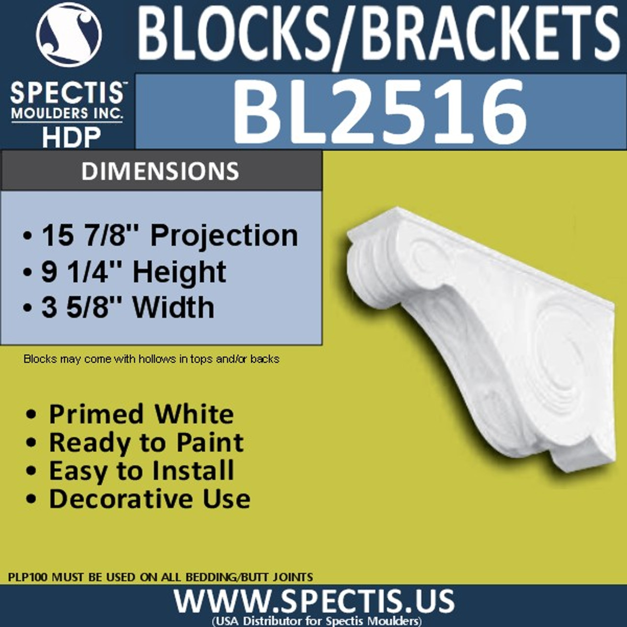 "BL2516 Eave Block or Bracket 4""W x 9.25""H x 16"" P"
