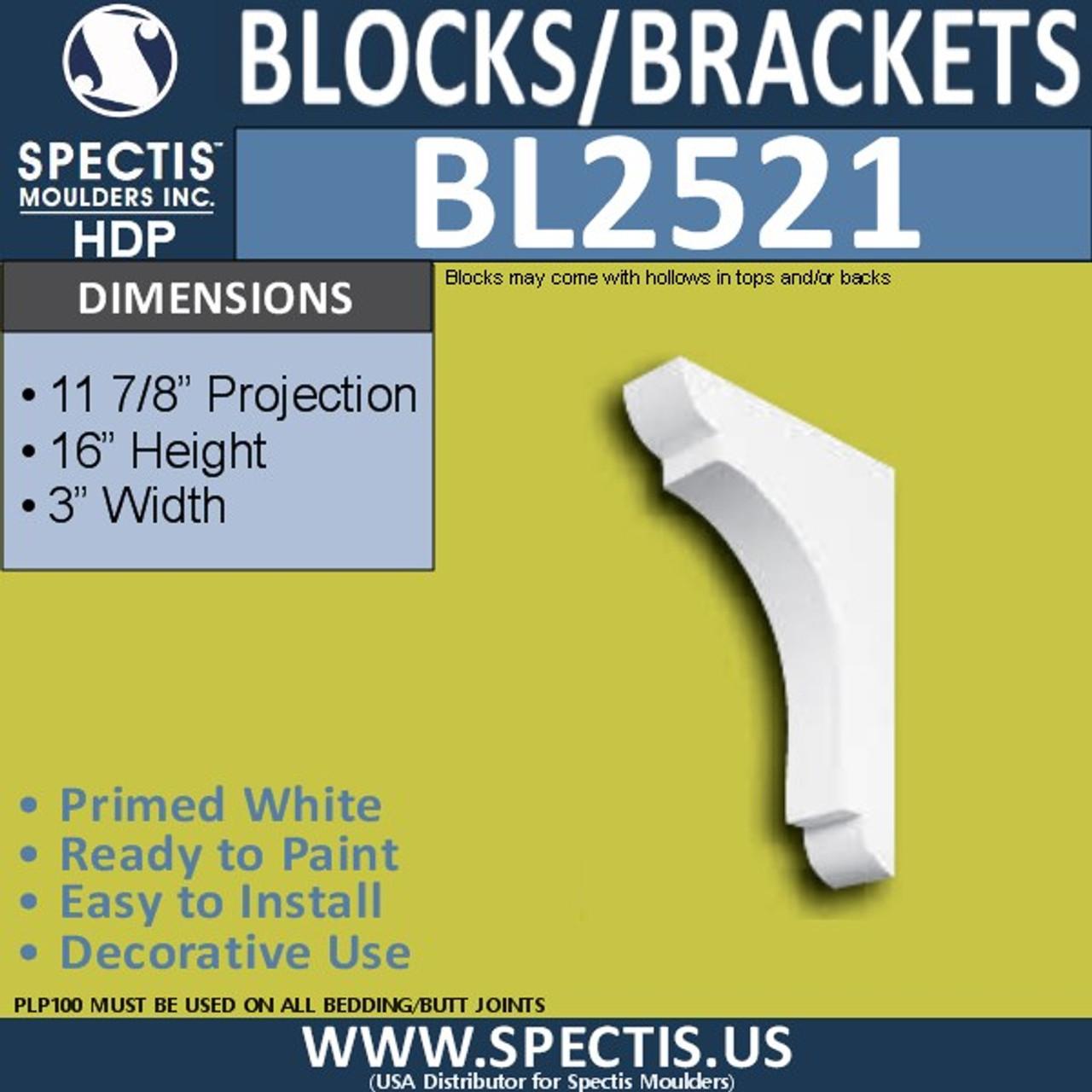 "BL2521 Eave Block or Bracket 3""W x 16""H x 12"" P"