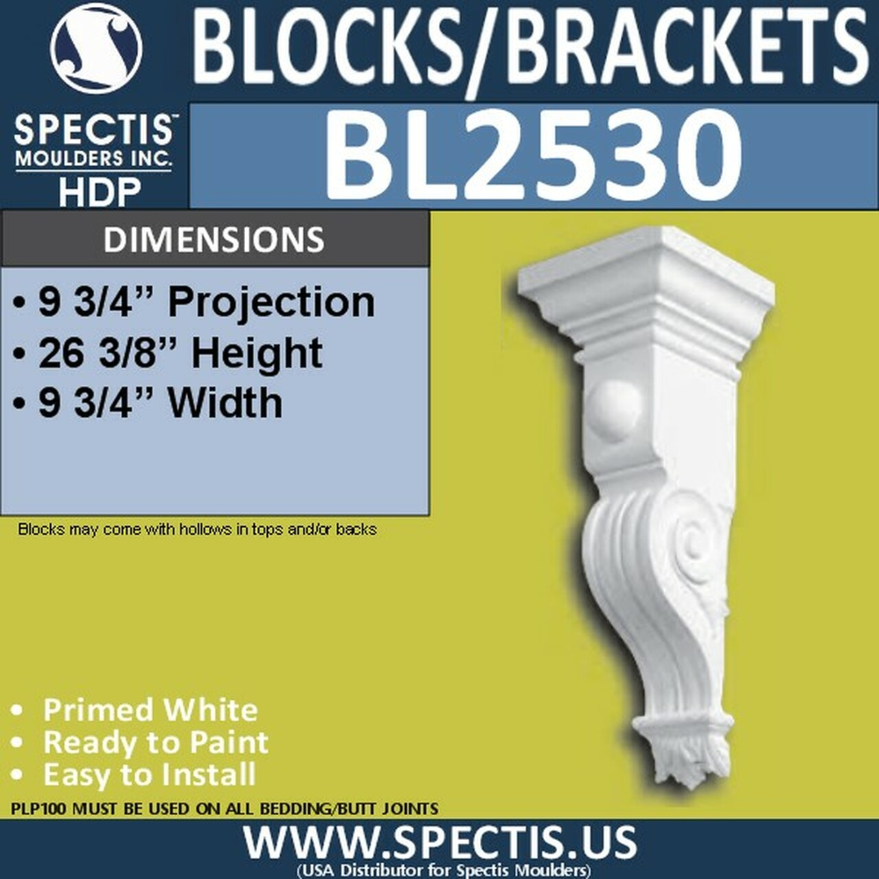 "BL2530 Eave Block or Bracket 9.75""W x 26""H x 9.75"" P"