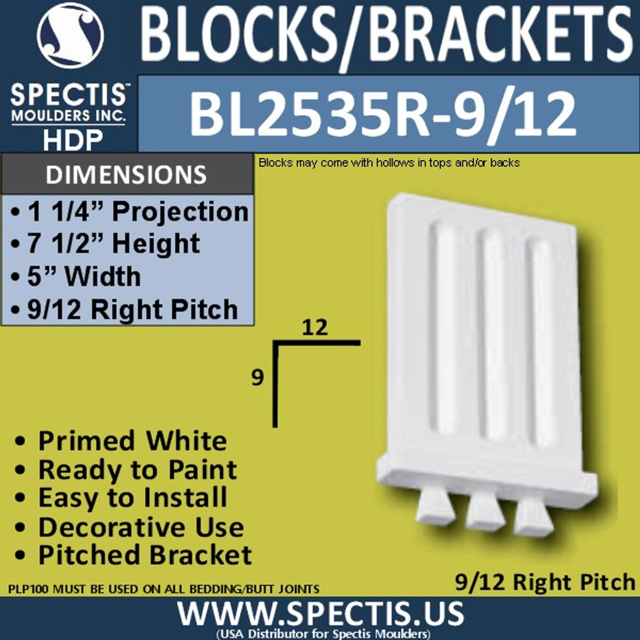 "BL2535R-9/12 Pitch Eave Bracket 5""W x 7.5""H x 1.25"" P"
