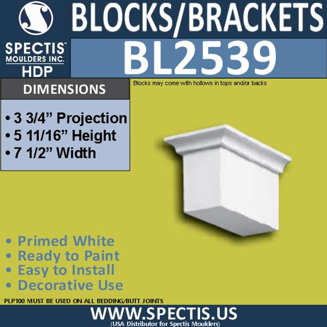 "BL2539 Eave Block or Bracket 7.5""W x 6""H x 3.75"" P"