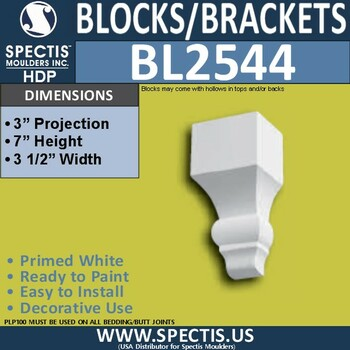 "BL2544 Eave Block or Bracket 3.5""W x 7""H x 3"" P"