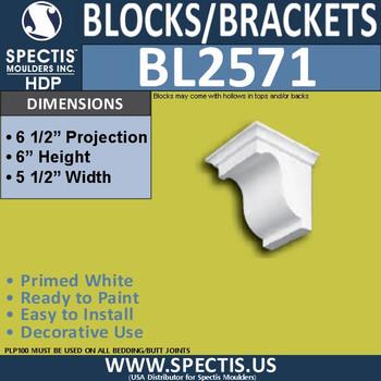"BL2571 Eave Block or Bracket 5""W x 6""H x 6.5"" P"